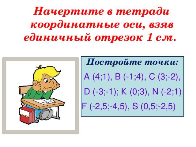 Начертите в тетради координатные оси, взяв единичный отрезок 1 см.  Постройте точки:  А (4;1), В (-1;4), С (3;-2),  D (-3;-1); К (0;3), N (-2;1) F (-2,5;-4,5), S (0,5;-2,5)