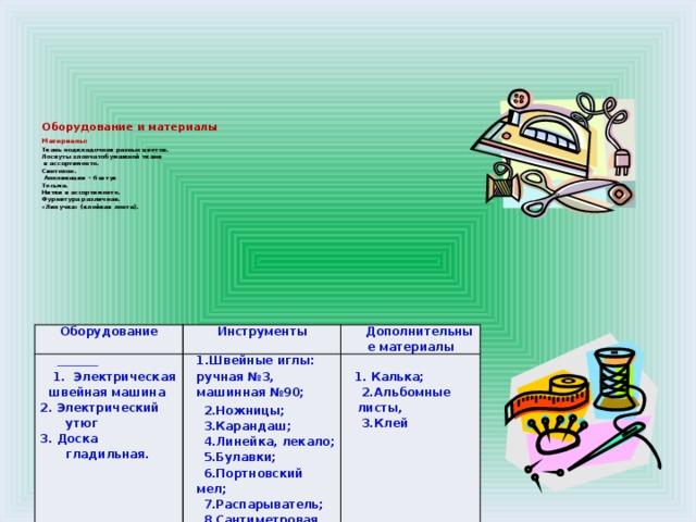 Оборудование и материалы  Материалы:   Ткань подкладочная разных цветов.  Лоскуты хлопчатобумажной ткани  в ассортименте.  Синтепон.  Аппликации – 6 штук  Тесьма.  Нитки в ассортименте.  Фурнитура различная.  «Липучка» (клейкая лента).      Оборудование  Инструменты Дополнительные материалы 1. Электрическая швейная машина 1.Швейные иглы: ручная №3, машинная №90;  2. Электрический утюг 2.Ножницы; 3. Доска гладильная. 3.Карандаш;  1. Калька; 2.Альбомные листы, 4.Линейка, лекало; 3.Клей 5.Булавки;  6.Портновский мел; 7.Распарыватель; 8.Сантиметровая лента.