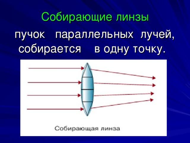 Собирающие линзы   пучок параллельных лучей, собирается в одну точку.
