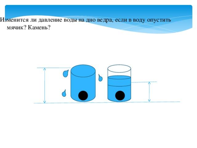 Изменится ли давление воды на дно ведра, если в воду опустить мячик? Камень?
