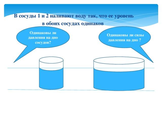 В сосуды 1 и 2 наливают воду так, что ее уровень в обоих сосудах одинаков Одинаковы ли давления на дно сосудов?  Одинаковы ли силы давления на дно ?