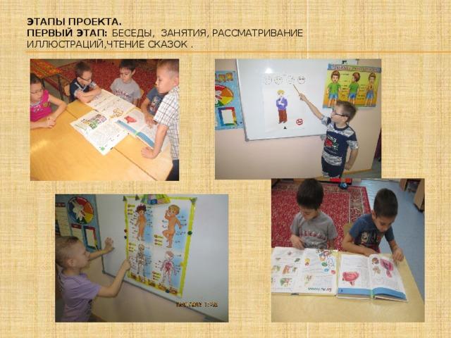 Этапы проекта.  Первый этап: Беседы, занятия, рассматривание иллюстраций,чтение сказок .