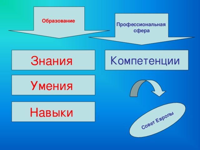 Совет Европы Образование Профессиональная сфера Знания Компетенции Умения Навыки