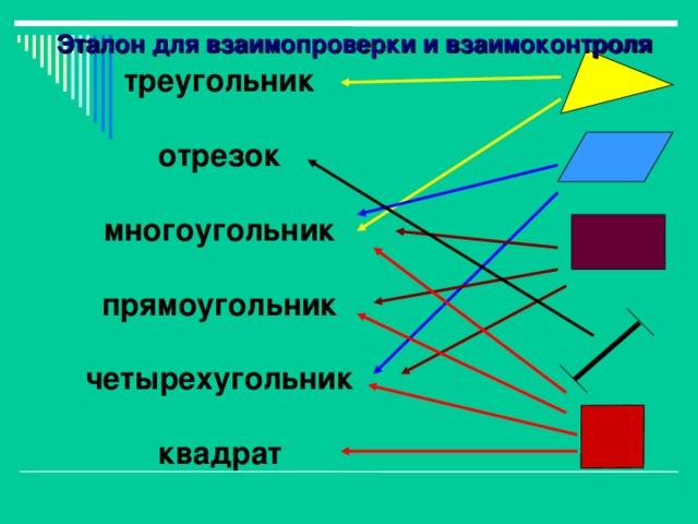Эталон для взаимопроверки и взаимоконтроля треугольник  отрезок  многоугольник  прямоугольник  четырехугольник  квадрат