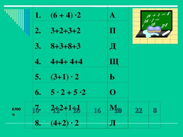 1. 2. (6 + 4) ·2 3+2+3+2 3. А 4. 8+3+8+3 П 4+4+ 4+4 5. Д Щ (3+1) · 2 6. 5 · 2 + 5 ·2 7. Ь 8. 2+2+1+1 О (4+2) · 2 М Л 10 12 20 16 20 22 8 ключ
