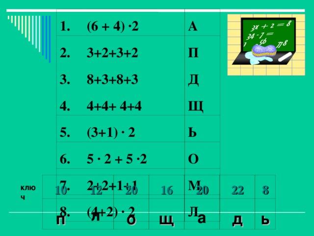 1. 2. (6 + 4) ·2 3+2+3+2 3. А 8+3+8+3 4. П 4+4+ 4+4 Д 5. 6. Щ (3+1) · 2 5 · 2 + 5 ·2 7. Ь 2+2+1+1 8. О (4+2) · 2 М Л 10 п 12 20 л 16 о 20 щ а 22 8 д ь ключ
