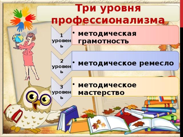 1 уровень методическая грамотность методическая грамотность 2 уровень методическое ремесло методическое ремесло 3 уровень методическое мастерство методическое мастерство Три уровня профессионализма