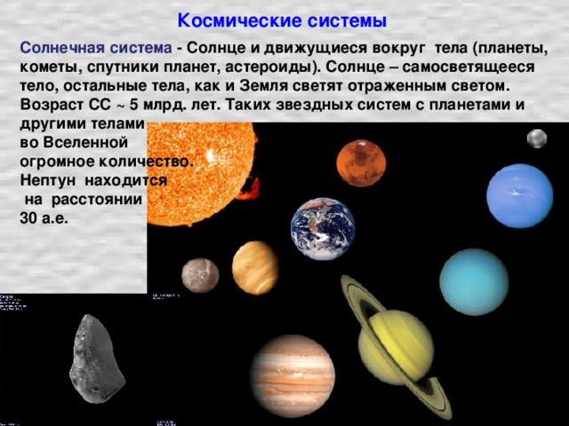 Космические системы Солнечная система - Солнце и движущиеся вокруг тела (планеты, кометы, спутники планет, астероиды). Солнце – самосветящееся тело, остальные тела, как и Земля светят отраженным светом. Возраст СС ~ 5 млрд. лет. Таких звездных систем с планетами и другими телами во Вселенной огромное количество. Нептун находится  на расстоянии 30 а.е.
