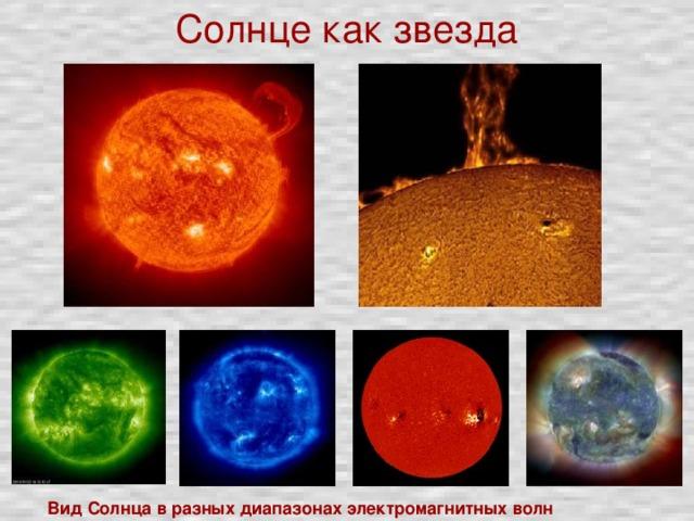 Солнце как звезда Вид Солнца в разных диапазонах электромагнитных волн