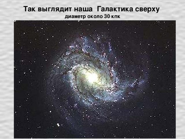 Так выглядит наша Галактика сверху  диаметр около 30 кпк