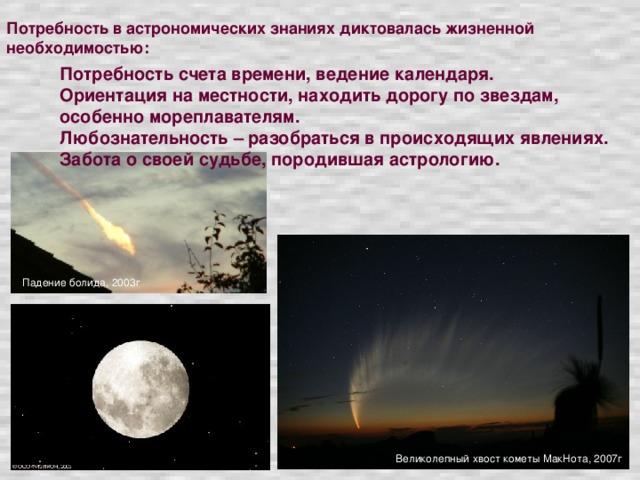 Потребность в астрономических знаниях диктовалась жизненной необходимостью: Потребность счета времени, ведение календаря. Ориентация на местности, находить дорогу по звездам, особенно мореплавателям. Любознательность – разобраться в происходящих явлениях. Забота о своей судьбе, породившая астрологию. Падение болида, 2003г Великолепный хвост кометы МакНота, 2007г