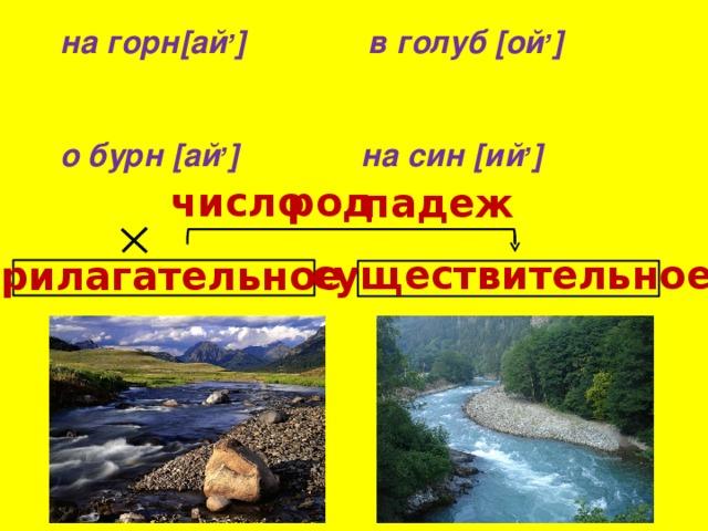 на горн[ай , ] в голуб [ой , ] о бурн [ай , ] на син [ий , ] число  род  падеж  существительное  прилагательное