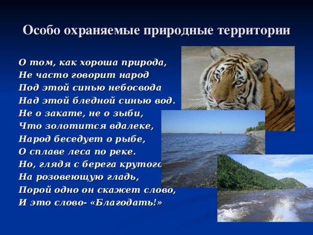 Особо охраняемые природные территории О том, как хороша природа, Не часто говорит народ Под этой синью небосвода Над этой бледной синью вод. Не о закате, не о зыби, Что золотится вдалеке, Народ беседует о рыбе, О сплаве леса по реке. Но, глядя с берега крутого На розовеющую гладь, Порой одно он скажет слово, И это слово- «Благодать!»