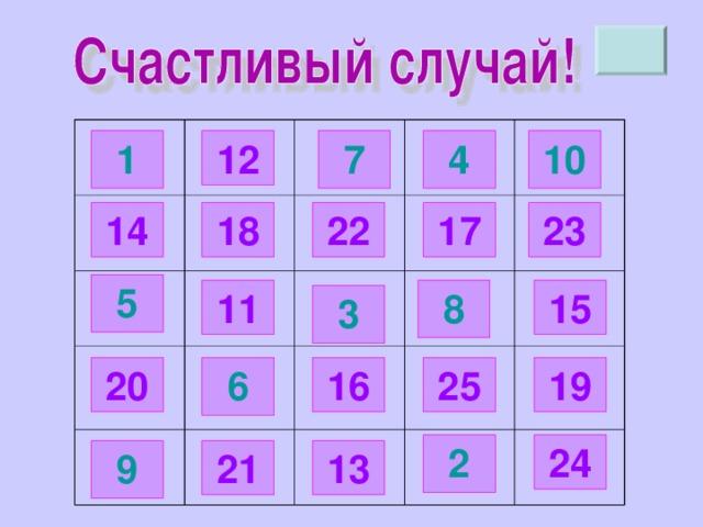 12 10 4 7 1 18 17 23 14 22 5 11 8 15 3 25 16 6 19 20 24 2 21 9 13