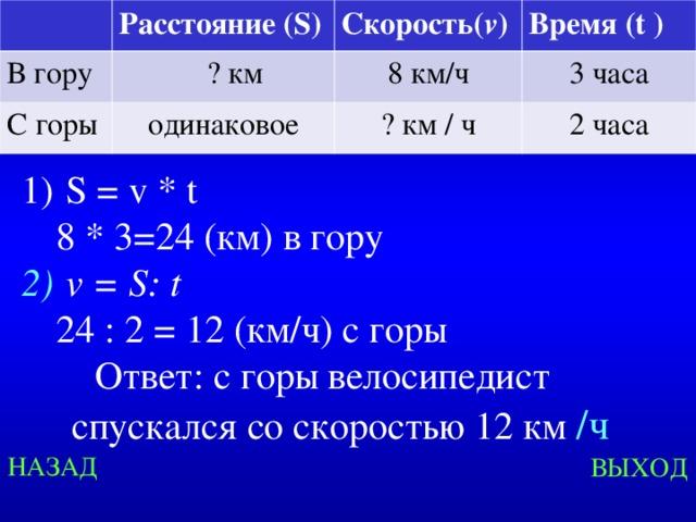 Расстояние ( S ) В гору Скорость( v )  ? км С горы одинаковое Время ( t ) 8 км/ч ? км / ч 3 часа 2 часа  S = v * t  8 * 3=24 (км) в гору  v = S : t  24 : 2 = 12 (км/ч) с горы Ответ: с горы велосипедист спускался со скоростью 12 км /ч Created by Unregisterd version of Xtreme Compressor НАЗАД ВЫХОД