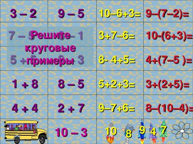 9–(7–2)= 3 – 2 10–6+3= 9 – 5 4 10-(6+3)= 6 – 1 7 – 5 3+7–6= Решите круговые примеры 1 4+(7–5 )= 5 + 5 8- 4+5= 9 – 3 6 3+(2+5)= 8 – 5 5+2+3= 1 + 8 10 8–(10–4)= 2 + 7 4 + 4 9–7+6= 2 10 – 3 9 7 10 4 8