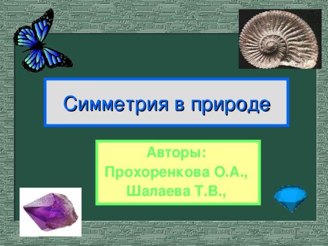 Симметрия в природе Авторы: Прохоренкова О.А., Шалаева Т.В.,