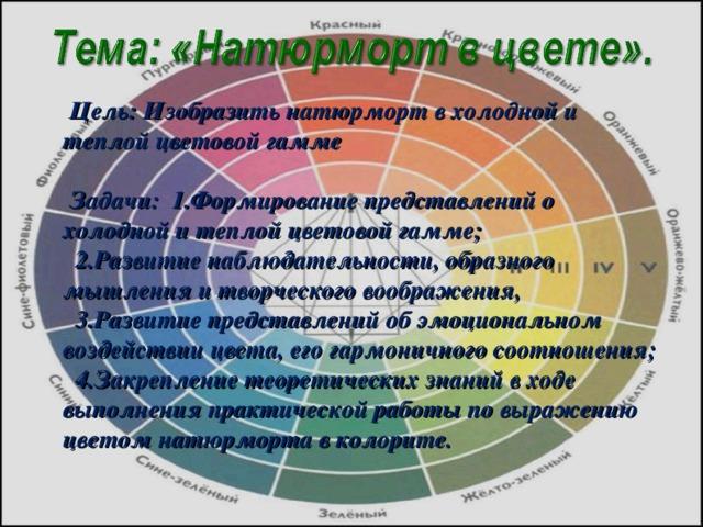 Цель: Изобразить натюрморт в холодной и теплой цветовой гамме  Задачи: 1.Формирование представлений о холодной и теплой цветовой гамме;  2.Развитие наблюдательности, образного мышления и творческого воображения,  3.Развитие представлений об эмоциональном воздействии цвета, его гармоничного соотношения;  4.Закрепление теоретических знаний в ходе выполнения практической работы по выражению цветом натюрморта в колорите.