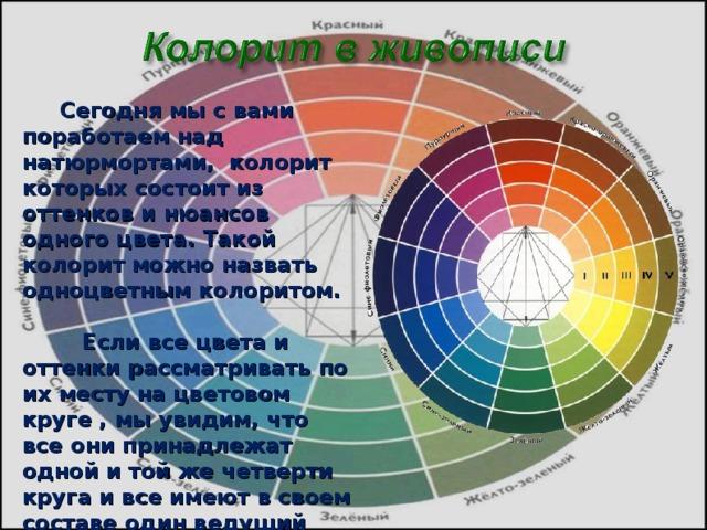 Сегодня мы с вами поработаем над натюрмортами, колорит которых состоит из оттенков и нюансов одного цвета. Такой колорит можно назвать одноцветным колоритом.  Если все цвета и оттенки рассматривать по их месту на цветовом круге , мы увидим, что все они принадлежат одной и той же четверти круга и все имеют в своем составе один ведущий цвет.