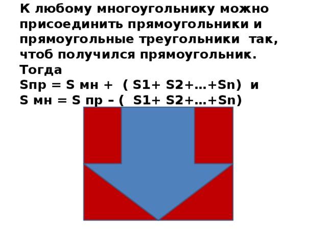 К любому многоугольнику можно присоединить прямоугольники и прямоугольные треугольники так, чтоб получился прямоугольник. Тогда  Sпр = S мн + ( S1+ S2+…+Sn) и  S мн = S пр – ( S1+ S2+…+Sn)