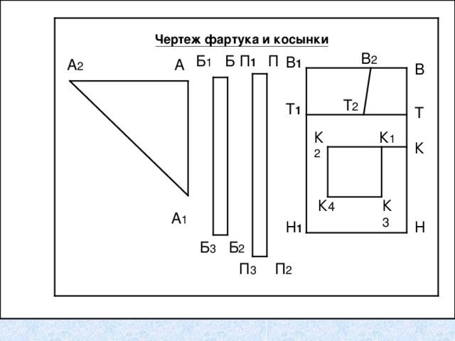 Чертеж фартука и косынки В 2 П 1 П Б Б 1 В 1 А 2 А В Т 2 Т 1 Т К 2 К 1 К К 4 К 3 А 1 Н Н 1 Б 3 Б 2 П 3 П 2