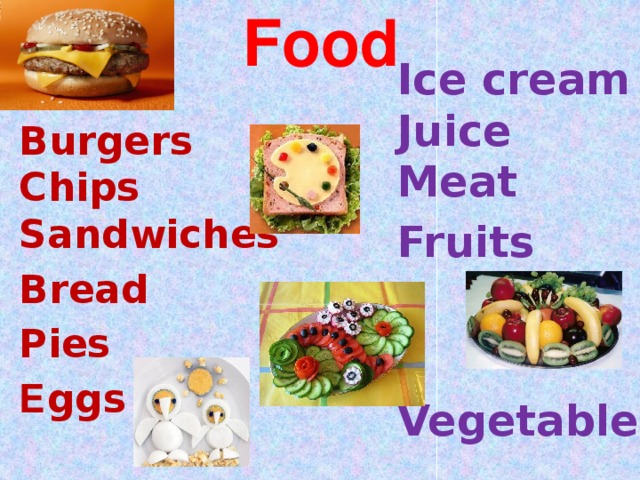 Food Ice cream  Juice  Meat Fruits  Vegetables Burgers Chips Sandwiches Bread Pies Е ggs