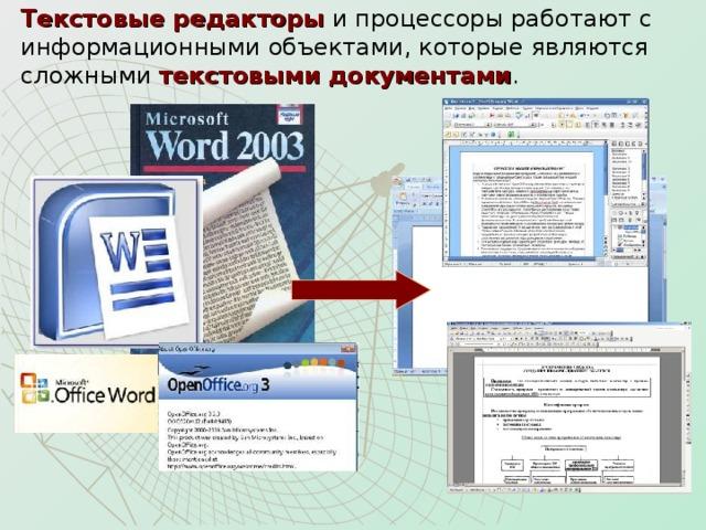 Текстовые редакторы и процессоры работают с  информационными объектами, которые являются  сложными текстовыми документами .