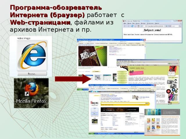 Программа-обозреватель Интернета (браузер) работает с Web -страницами , файлами из архивов Интернета и пр.