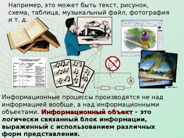 Например, это может быть текст, рисунок, схема, таблица, музыкальный файл, фотография и т. д. + - A Информационные процессы производятся не над информацией вообще, а над информационными объектами. Информационный объект – это логически связанный блок информации, выраженный с использованием различных  форм представления.