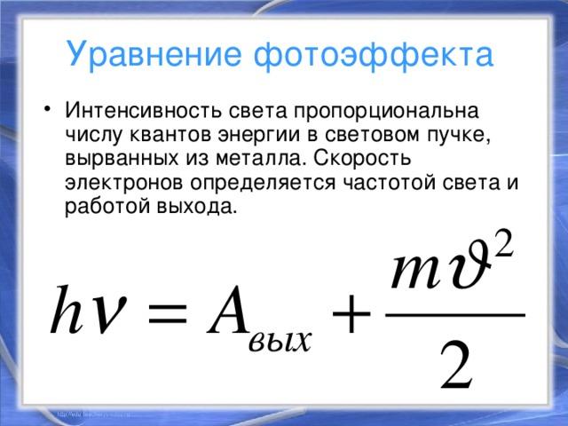 Уравнение фотоэффекта