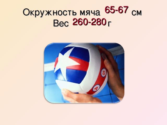 65-67 Окружность мяча см  Вес г  260-280