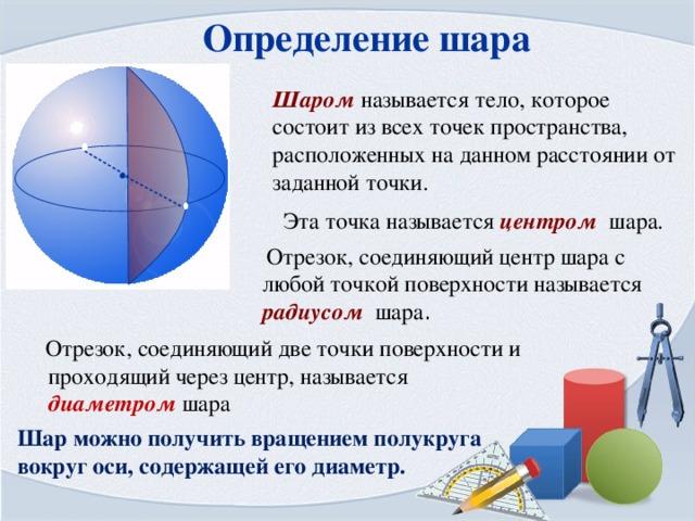 Определение шара Шаром называется тело, которое состоит из всех точек пространства, расположенных на данном расстоянии от заданной точки. Эта точка называется центром шара.  Отрезок, соединяющий центр шара с любой точкой поверхности называется радиусом шара .  Отрезок, соединяющий две точки поверхности и проходящий через центр, называется диаметром шара Шар можно получить вращением полукруга вокруг оси, содержащей его диаметр.