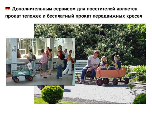 Дополнительным сервисом для посетителей является прокат тележек и бесплатный прокат передвижных кресел