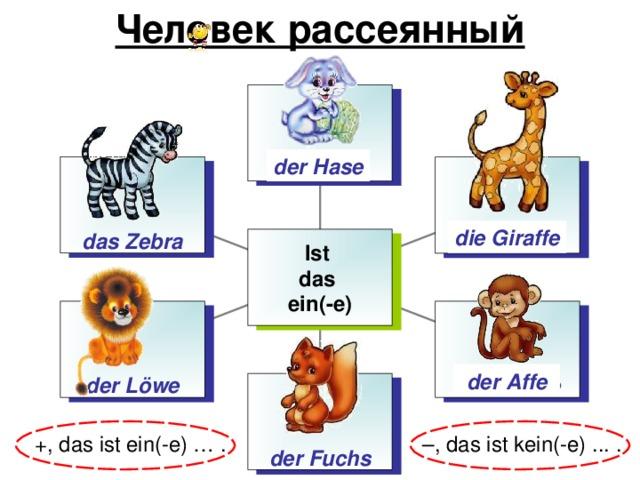 Человек рассеянный der Nase der Hase das Zebra der Affe die Giraffe Ist das ein(-e) der L öwe die Giraffe der Affe der Fuchs – , das ist kein(-e) ... . +, d as ist ein(-e) … .