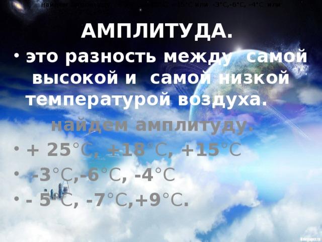найдем амплитуду. + 25 °С , +18 °С , +15 °С или -3 °С ,-6 °С , -4 °С или найдем амплитуду. + 25 °С , +18 °С , +15 °С или -3 °С ,-6 °С , -4 °С или  - 5 °С , -7 °С ,+9 °С .  - 5 °С , -7 °С ,+9 °С . АМПЛИТУДА. это разность между самой высокой и самой низкой температурой воздуха.  найдем амплитуду.