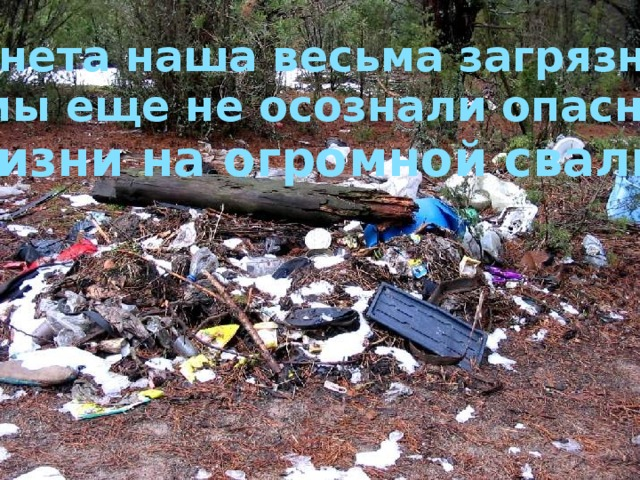 Планета наша весьма загрязнена, но мы еще не осознали опасности жизни на огромной свалке