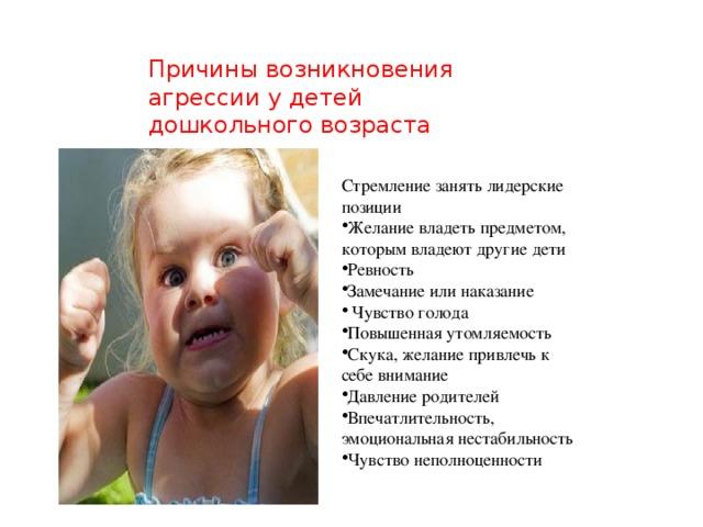 Причины возникновения агрессии у детей дошкольного возраста Стремление занять лидерские позиции