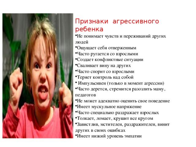 Признаки агрессивного ребенка