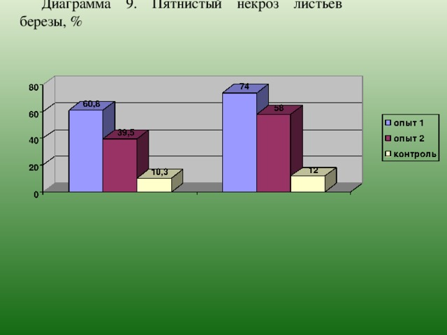 Диаграмма 9.  Пятнистый некроз листьев березы, %