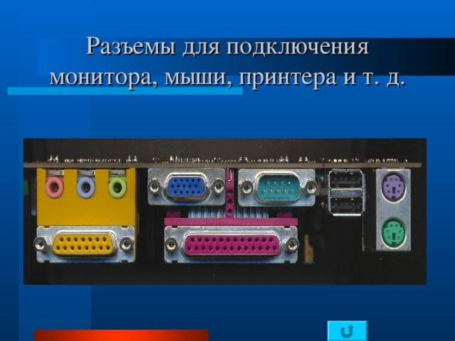 Разъемы для подключения монитора, мыши, принтера и т. д.