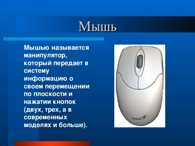 Мышь  Мышью называется манипулятор, который передает в систему информацию о своем перемещении по плоскости и нажатии кнопок (двух, трех, а в современных моделях и больше).