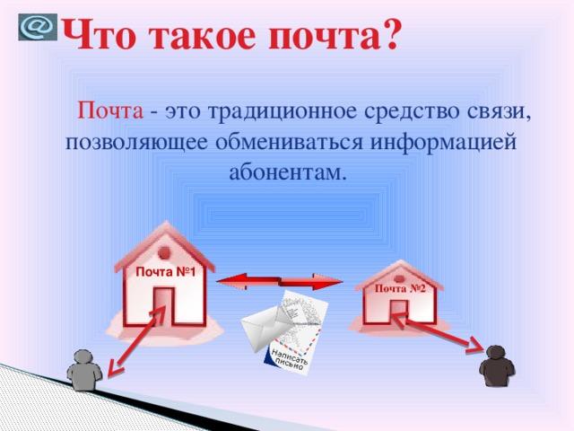 Что такое почта?  Почта - это традиционное средство связи, позволяющее обмениваться информацией абонентам. Почта №1 Почта №2