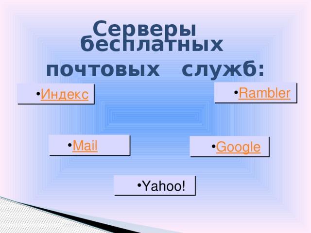 Серверы бесплатных почтовых служб: Yahoo! 18