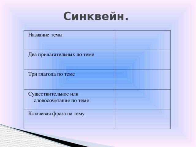 Cинквейн. Название темы  Два прилагательных по теме  Три глагола по теме  Существительное или словосочетание по теме  Ключевая фраза на тему