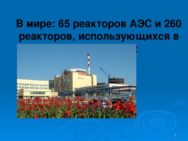 В мире: 65 реакторов АЭС и 260 реакторов, использующихся в научных целях