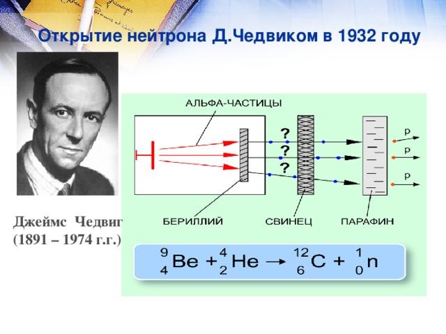 Открытие нейтрона Д.Чедвиком в 1932 году Джеймс Чедвиг (1891 – 1974 г.г.)