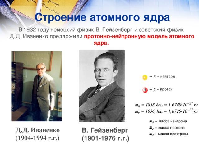 Строение атомного ядра В 1932 году немецкий физик В. Гейзенберг и советский физик Д.Д. Иваненко предложили протонно-нейтронную модель атомного ядра.  Д.Д. Иваненко (1904-1994 г.г.) В. Гейзенберг (1901-1976 г.г.)