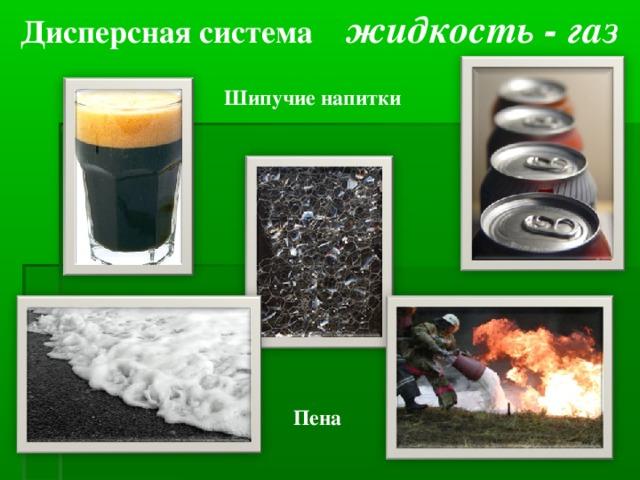 Дисперсная система жидкость - газ  Шипучие напитки Пена