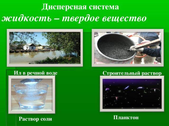 Дисперсная система жидкость – твердое вещество Ил в речной воде Строительный раствор Планктон Раствор соли