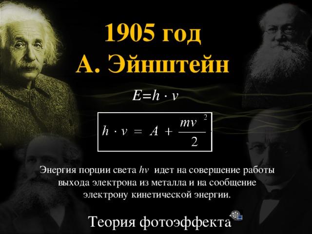 1905 год А. Эйнштейн   E=h ∙ v Энергия порции света hv идет на совершение работы выхода электрона из металла и на сообщение электрону кинетической энергии. Теория фотоэффекта